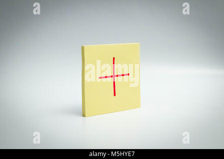 interrogation mark correct + plus post it note paper Exclamation mark - Stock Photo