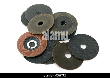 Set cutting discs for angle grinder isolated on white background. Top view. - Stock Photo