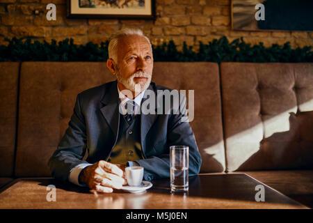 Portrait of elegant senior man sitting in a cafe - Stock Photo