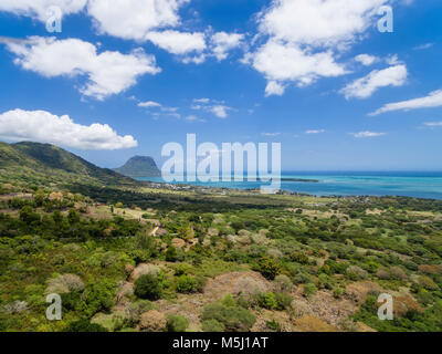 Mauritius, View from Chamarel View Point to West Coast,Island Ile aux Benitiers, Le Morne with Mountain Le Morne - Stock Photo