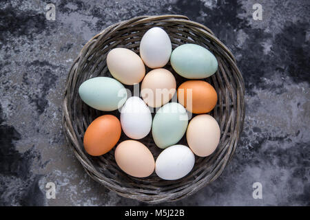 Different eggs, white, brown, light brown and green eggs - Stock Photo