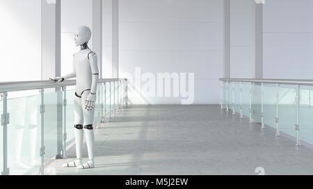 Robot standing in empty room, waiting - Stock Photo