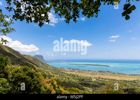 Mauritius, View from Chamarel view-point on west coast , Island Ile aux Benitiers, Le Morne with Mountain Le Morne - Stock Photo