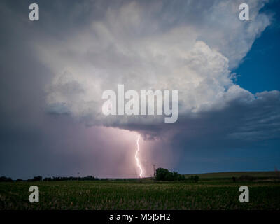 Lightning near Stamford, Nebraska, 21 June 2017 - Stock Photo