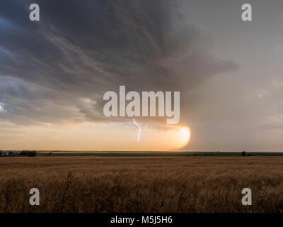 Lightning near Stamford, Nebraska, 21 June 2017 - Stock Photo
