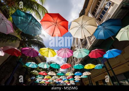 Mauritius, Port Louis, Caudan Waterfront, Umbrella Square - Stock Photo