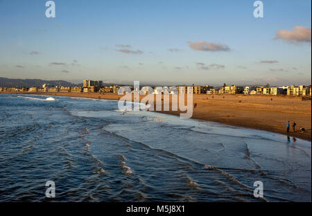 View of beaches in Los Angeles from Venice to Santa Monica, CA - Stock Photo