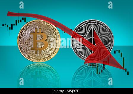 Bitcoin ethereum coins in bearish trend - Stock Photo