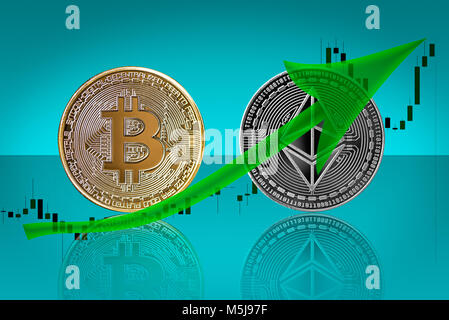 Bullish trend in cryptocurrency market of bitcoin and ethereum - Stock Photo