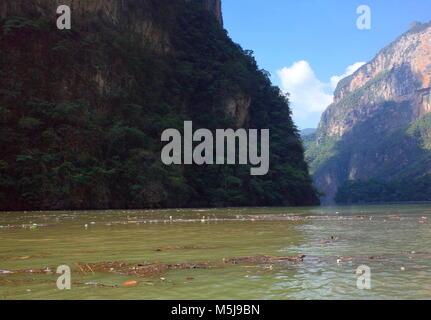 Rubbish floats in the river in Sumidero Canyon in Chiapas State in southern Mexico - Stock Photo