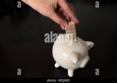 Woman putting a 500 Russian Rubles bank note into a piggy bank - Stock Photo