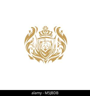 golden bear with crown on white background vector illustration design. - Stock Photo