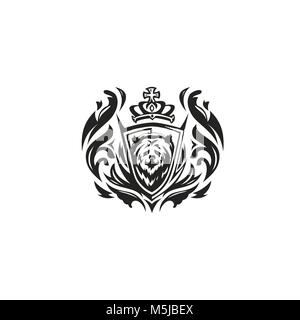 black and white bear with crown on white background vector illustration. - Stock Photo