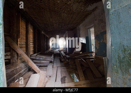 Abandoned old building - the corridor of the haunted house - Stock Photo