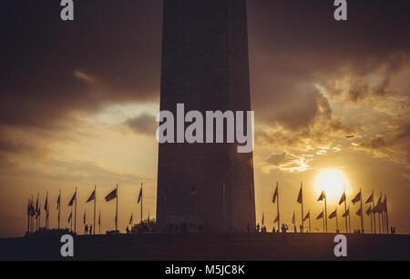 Washington Monument at sunset sky,  DC, USA - Stock Photo