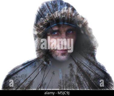 Portrait of a man in winter is created with  double exposure - Stock Photo