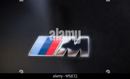 Kazan, Russia - july 2017 - logo sign for BMW M on black hood of the car - Stock Photo