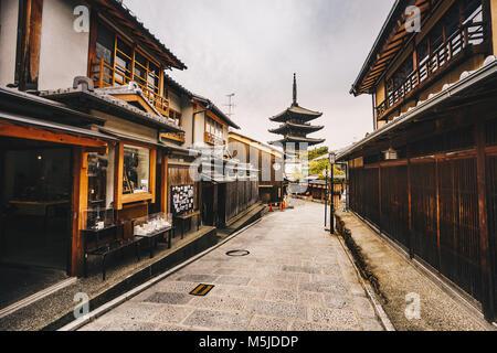 Yasaka Pagoda and Sannen Zaka Street in Kyoto old city in  Higashiyama District of Kyoto, Japan. - Stock Photo