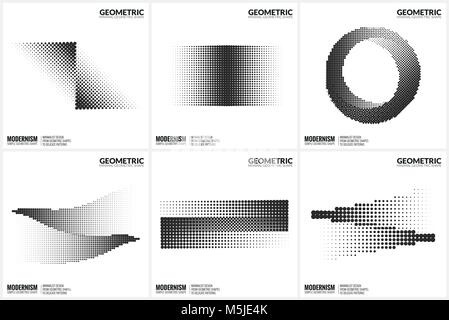 Universal Halftone Geometric Shapes For Design  - Stock Photo