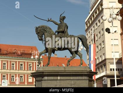 Ban Jelacic square in Zagreb, Croatia - Stock Photo