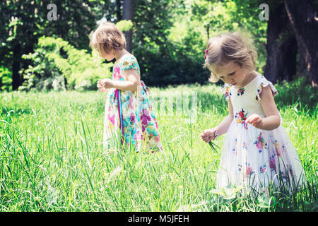 Adorable little girls (sisters) in the summer garden. - Stock Photo