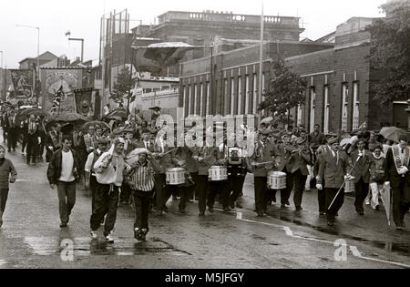 Black & white images showing the 12th of July in North Belfast, Northern Ireland. People in Northern Ireland have - Stock Photo