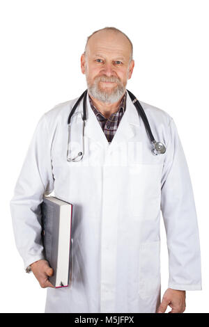 Portrait of mature medical doctor with stethoscope holding a medical encyclopedia on isolated - Stock Photo