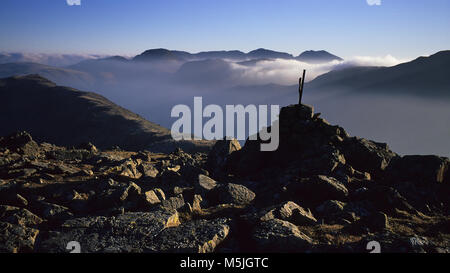Scafell from the summit of High Stile - Stock Photo
