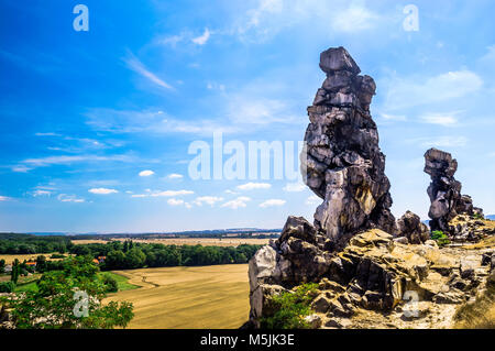 Sand stone rock Teufelsmauer by Neinstedt in Germany - Stock Photo