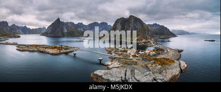 Aerial view of fishing villages in Norway - Stock Photo