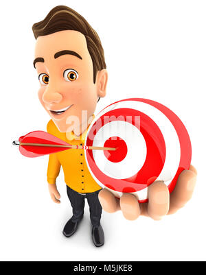 3d man holding a sphere target, illustration with isolated white background - Stock Photo