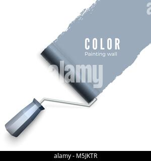 Painted wall and paint roller. Paint roller brush. Color paint texture when painting with a roller. Vector illustration - Stock Photo