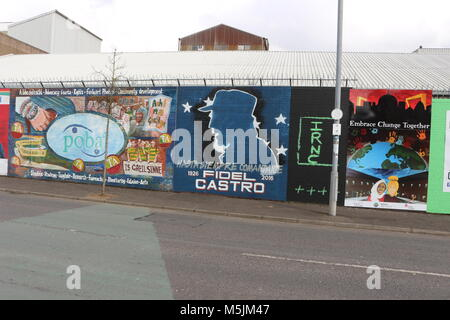 BELFAST, NORTHERN IRELAND - February 22 2018: Political mural in Belfast, Northern Ireland. Falls Road is famous - Stock Photo