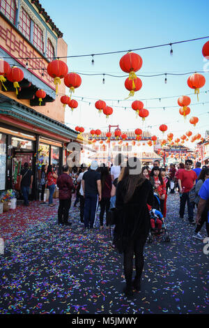 Chinese New Year 2018 in China Town Los Angeles, Ca. is celebrated with parades, crowds, and festivities. - Stock Photo