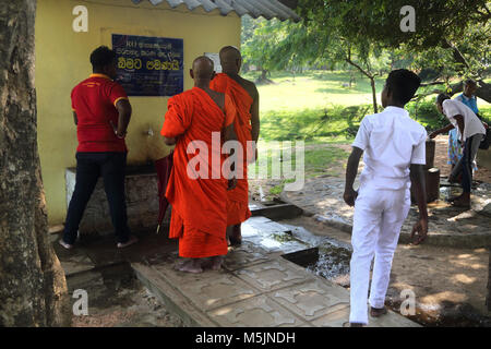 Polonnaruwa North Central Province Sri Lanka Buddhist Monks Queuing up to use Tap - Stock Photo
