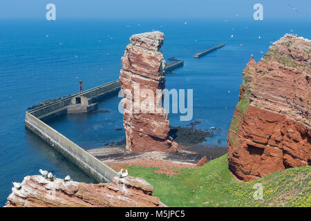 Cliff Lange Anna at western point of German island Helgoland - Stock Photo
