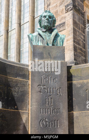 Luther fountain at the cathedral with the inscription A solid castle is our god,Freiberg,Saxony,Germany - Stock Photo