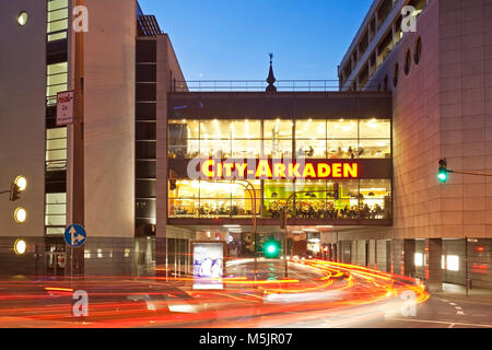 City-Arkaden in the twilight,Wuppertal,Bergisches Land,North Rhine-Westphalia,Germany - Stock Photo
