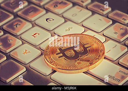 Bitcoin On Keyboard With Euro Dollar Pound And Yen Currency Stock