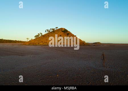 Art Sculpture ( Inside Australia Exhibition ) on Lake Ballard by Antony Gormley, Murchison, Western Australia - Stock Photo