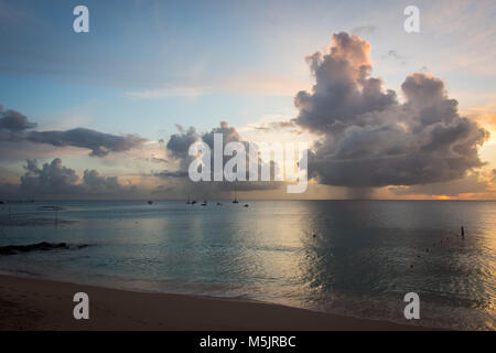 Sunset, West Coast Barbados, Caribbean - Stock Photo