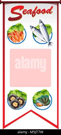 Banner design with different types of seafood illustration - Stock Photo