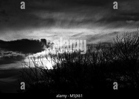 Winter Sunset and Clouds over Canyon, Texas - Stock Photo