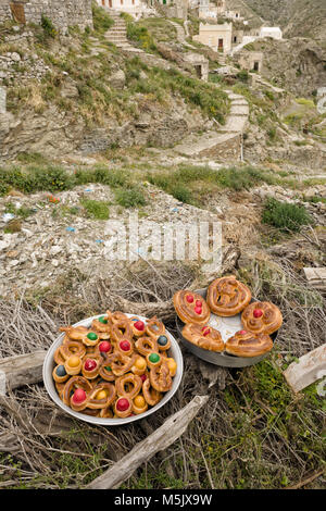 Greece, Aegean Islands, Olympos, Karpathos island, The village of Olympos seem timeless. to make bread is one of - Stock Photo