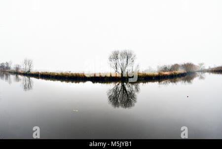 river waveney in winter at geldeston norfolk suffolk border UK - Stock Photo