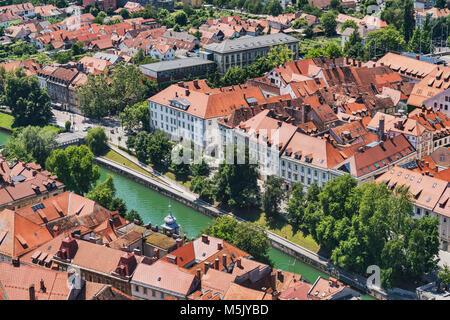 View over the capital Ljubljana to the buildings of the old town and to the river Ljubljanica, Ljubljana, Slovenia, - Stock Photo