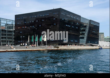 The Royal Danish Library extension building called Den Sorte Diamant (Black Diamond) on Slotsholmen (Castle Islet) - Stock Photo