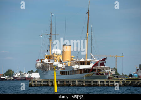 Kongeskibet Dannebrog (Her Danish Majesty's Yacht Dannebrog) built in 1932 in Copenhagen, Denmark, August 6th 2015 - Stock Photo