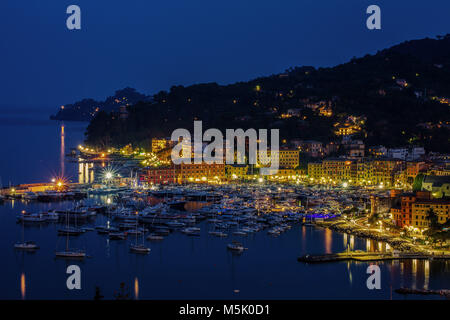 View of the harbour and the village by night, Santa Margherita Ligure, Genoa, Italy / pier/ night / lights/ pier/ - Stock Photo