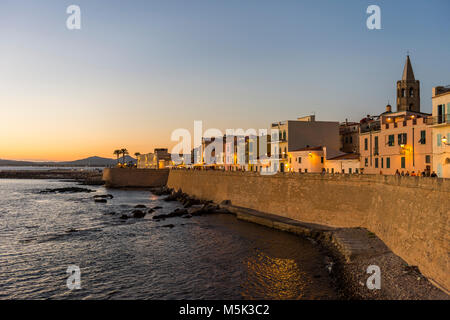 Waterfront in the coastal town of Alghero after sunset, Sardinia, Italy